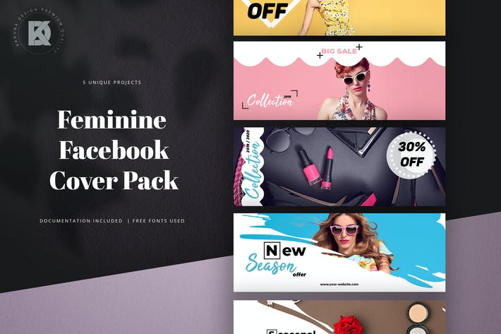Thumbnail for Feminine Facebook Cover Pack