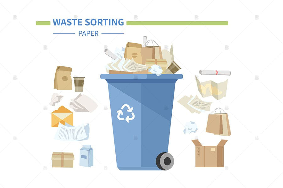 Paper waste sorting - flat style illustration