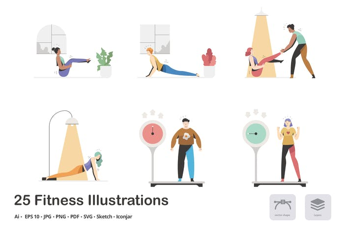 Fitness and Health Calma Illustration Pack