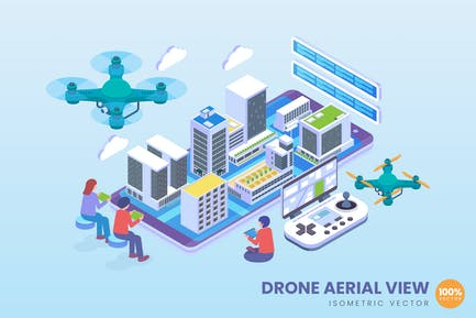 Isometric Drone Aerial View Vector Concept