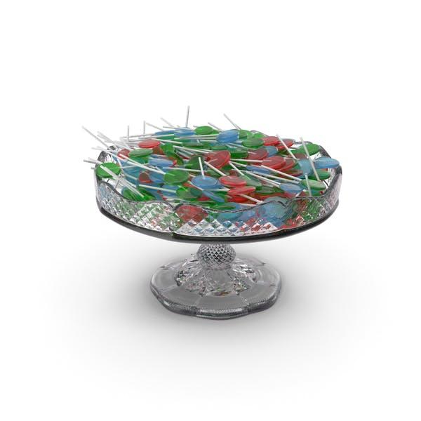 Fancy Crystal Bowl with Flat Lollipops