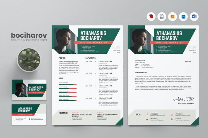 Thumbnail for Creative CV Resume & Name Card PSD, DOCX, AI No.9