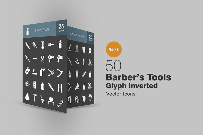 Thumbnail for 50 Barber's Tools Glyphe Inverted Icons
