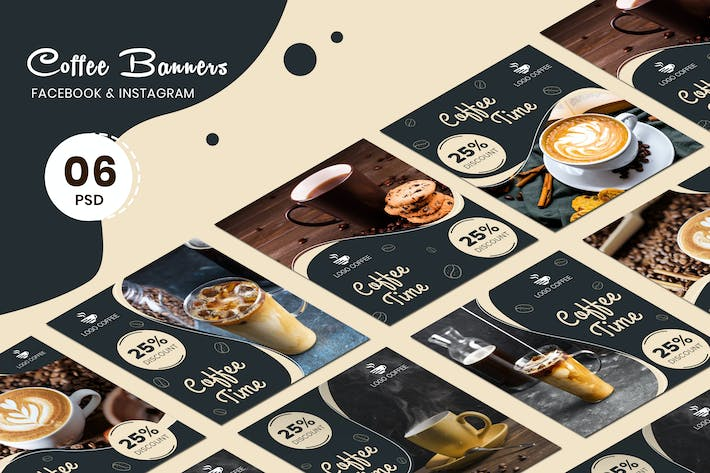 Thumbnail for Coffee Banners Social Media Post Templates