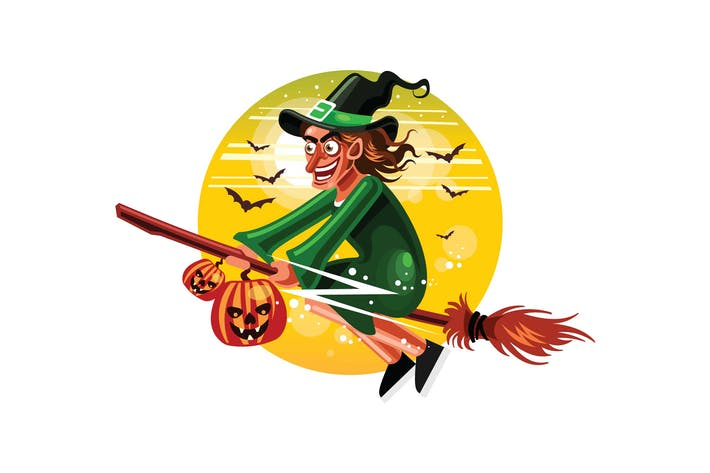 Thumbnail for Halloween Witches Fly with Broomstick