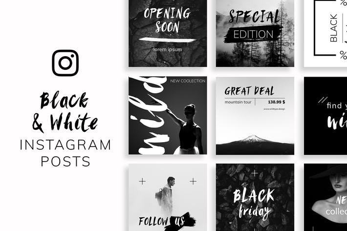 Thumbnail for Black & White Instagram Posts Template