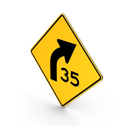 Curva de señales de Carretera con aviso de velocidad