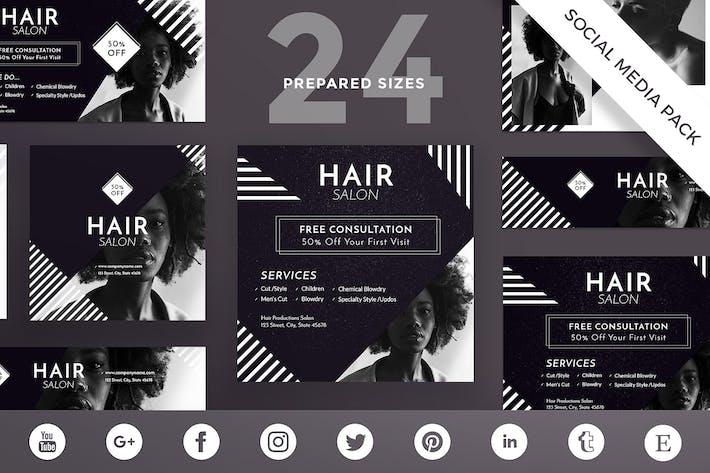 Thumbnail for Hair Salon Social Medios de comunicación Pack Plantilla