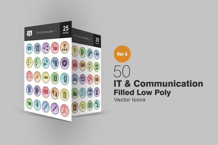 Thumbnail for 50 IT & Communication Filled Low Poly Icons