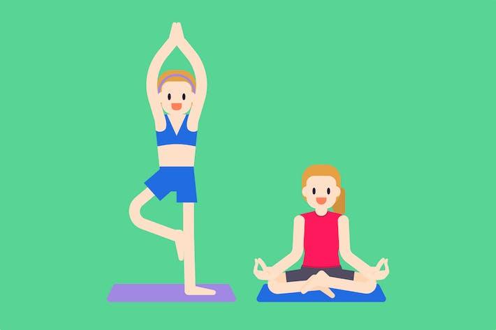 Thumbnail for Women Doing Yoga Poses Illustration