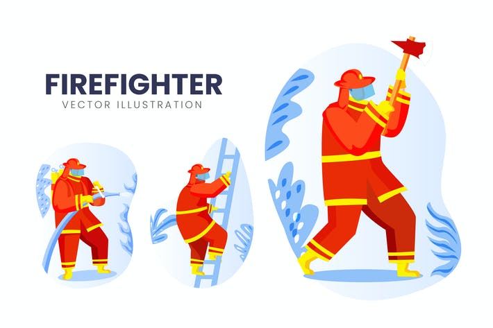 Thumbnail for Firefighter Vector Character Set Illustration