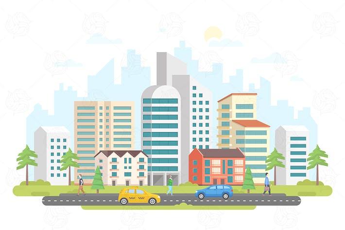 Thumbnail for Streetscape - flat design style illustration