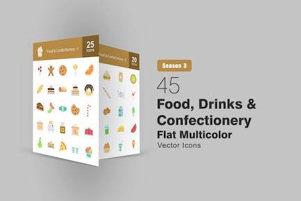 45 Flache Icons für Lebensmittel, Getränke und Süßwaren