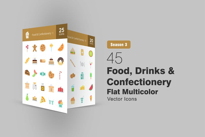Thumbnail for 45 Food, Drinks & Confectionery Flat Icons
