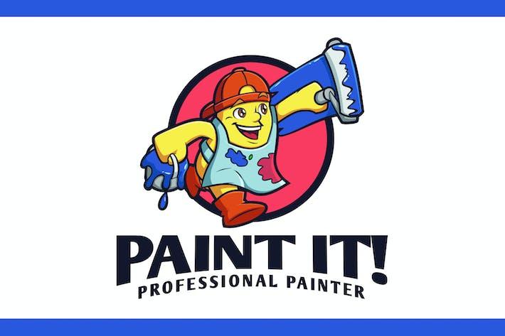 Thumbnail for Cartoon Painter Mascot Logo