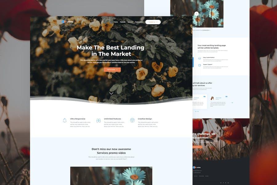 LeData - Business Landing Page Adobe XD
