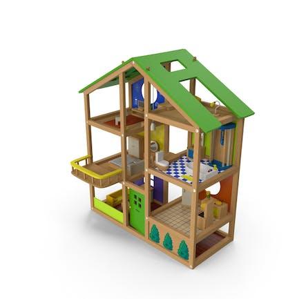 Casa de muñecas de madera amueblada