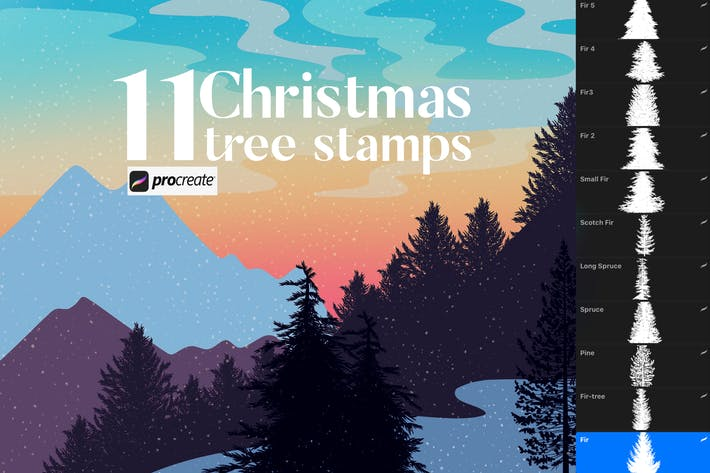 Thumbnail for 11 Christmas tree stamps for Procreate