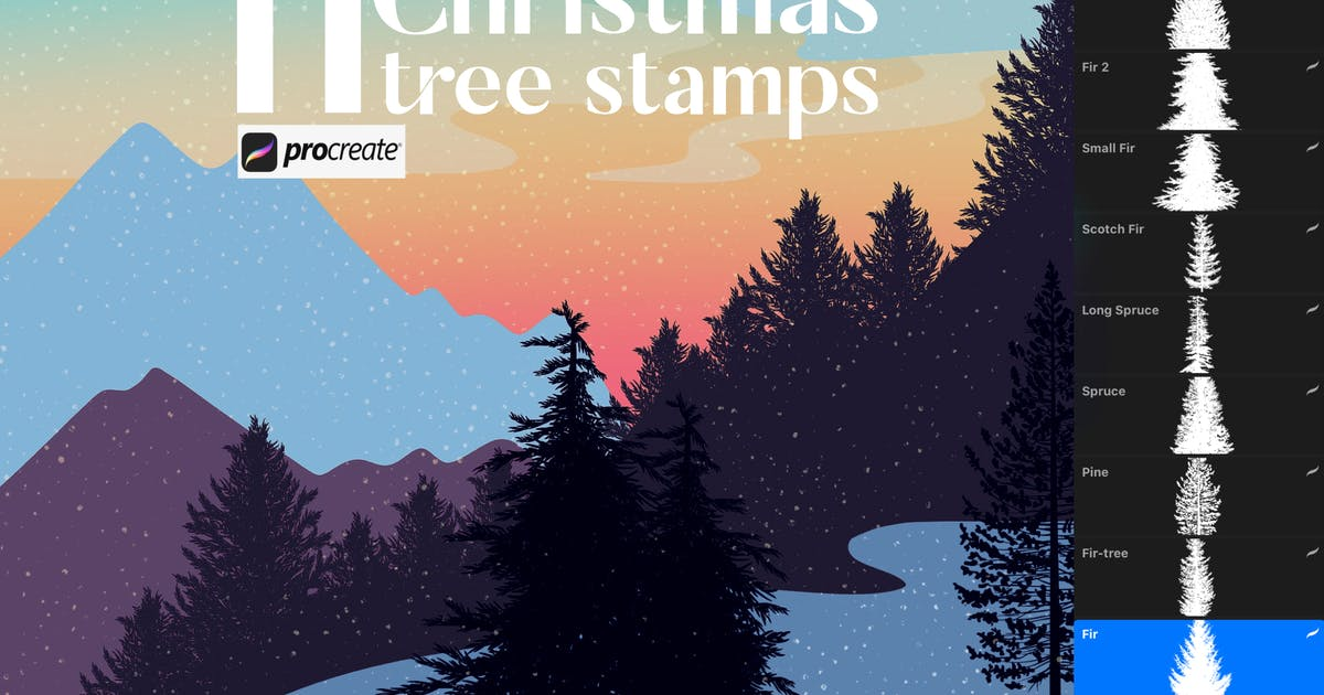 Download 11 Christmas tree stamps for Procreate by a_slowik