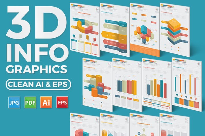 Thumbnail for 3D Chart infographic Elements