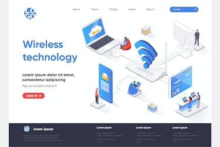 Wireless Tech Isometric Landing Page Template