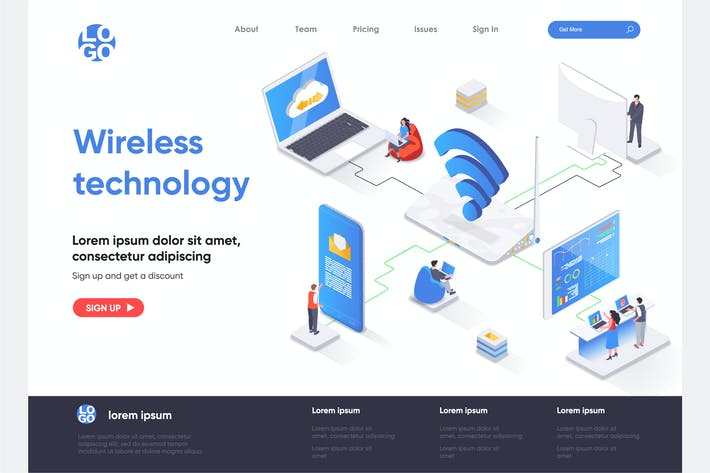 Thumbnail for Wireless Tech Isometric Landing Page Template