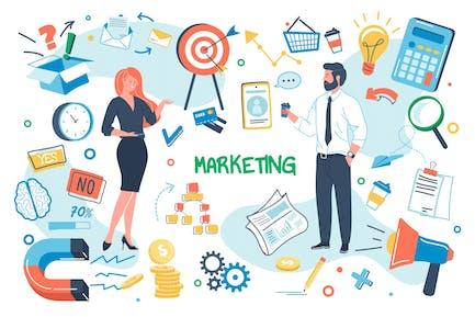 Concepto de marketing Conjunto de elementos aislados