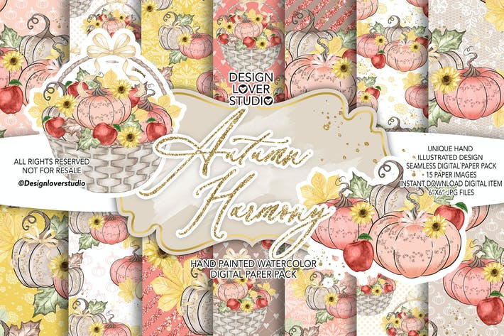 Thumbnail for Autumn Harmony digital paper pack
