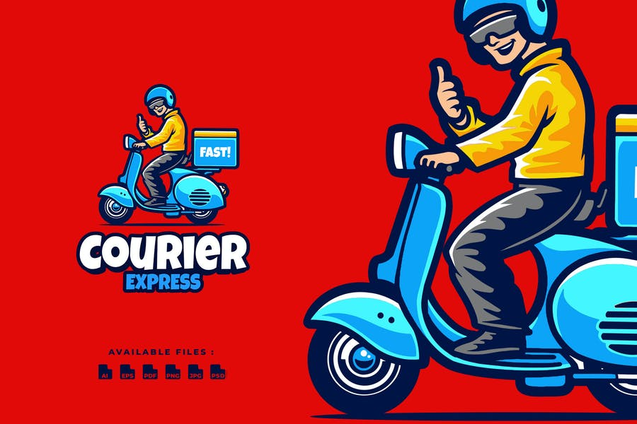 Expedition Courier Scooter Cartoon mascot Logo