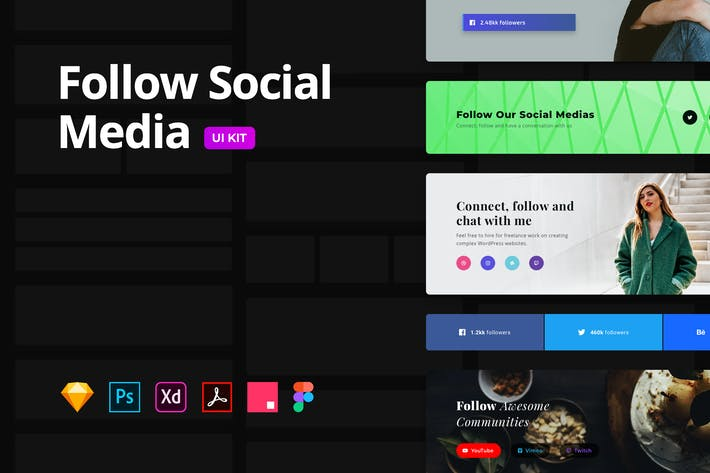 Follow Social Media – Multi-Format UI KIT
