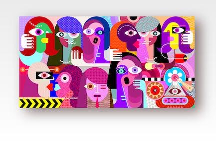 вектор иллюстрация группы странных людей