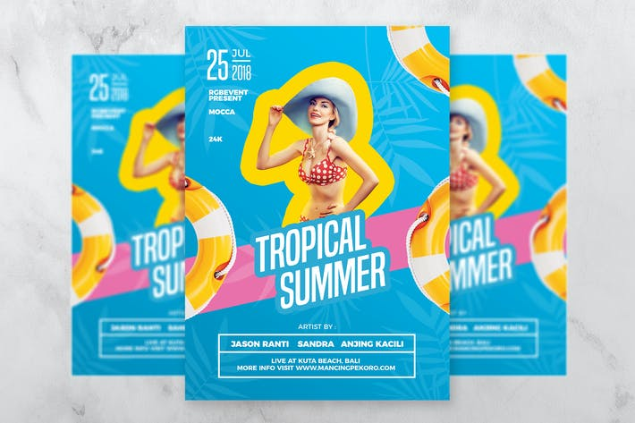 Thumbnail for Tropical Summer DJ Party Flyer Template