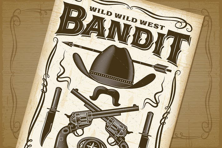 Thumbnail for Vintage Wild West Bandit Poster