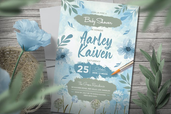 Thumbnail for Blue Baby Shower Invitation