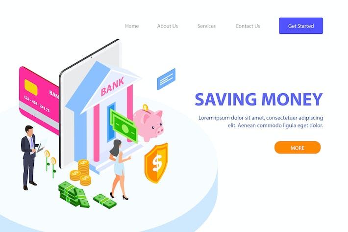 Thumbnail for Saving Money Isometric Illustration - FV