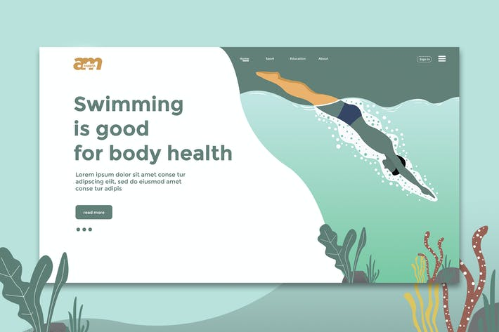 Thumbnail for Swimming Good  - Web Header & Landing Page