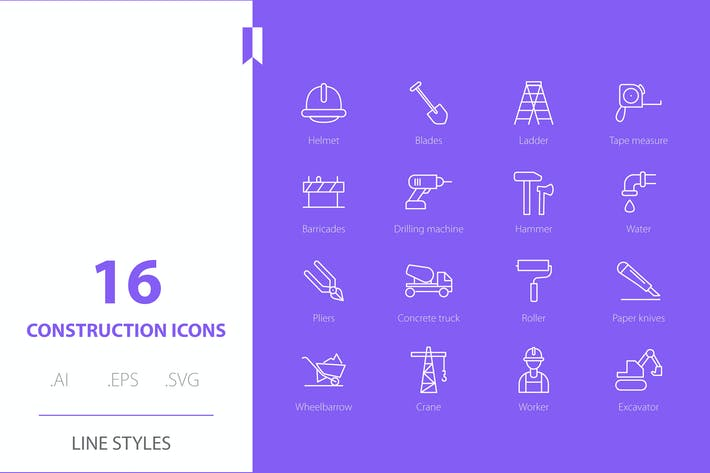 Construction Icon Line Styles