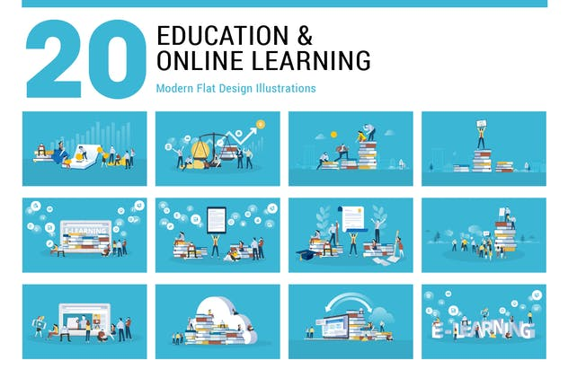 Flat Design Education Illustrations