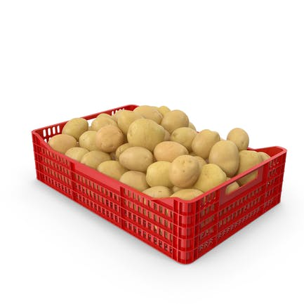 Potatoes Yellow in Plastic Crate