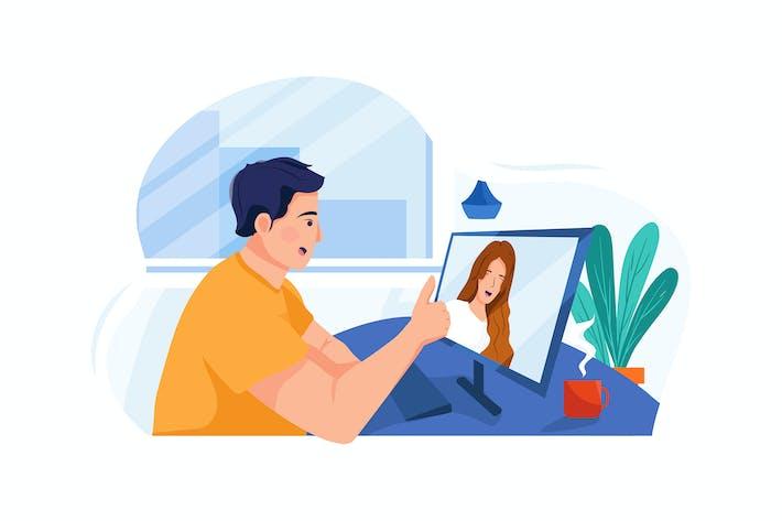 Thumbnail for Der Mann spricht mit seinem Kollegen per Video anruf