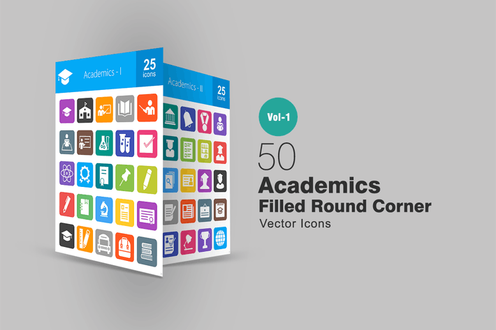 Thumbnail for 50 Academics Filled Round Corner Icons