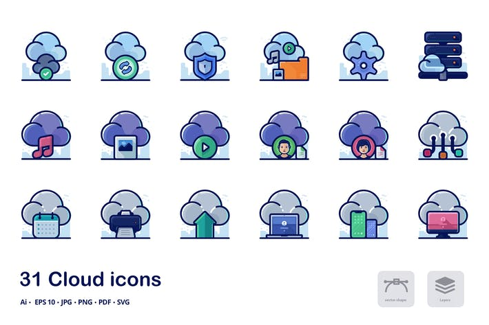 Thumbnail for Иконки подробных заполненных контуров в облаке