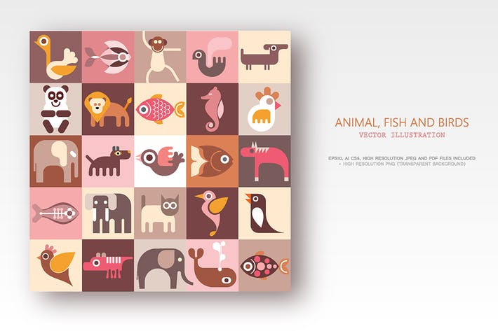 Thumbnail for Animals, Fish and Birds set of vector icons