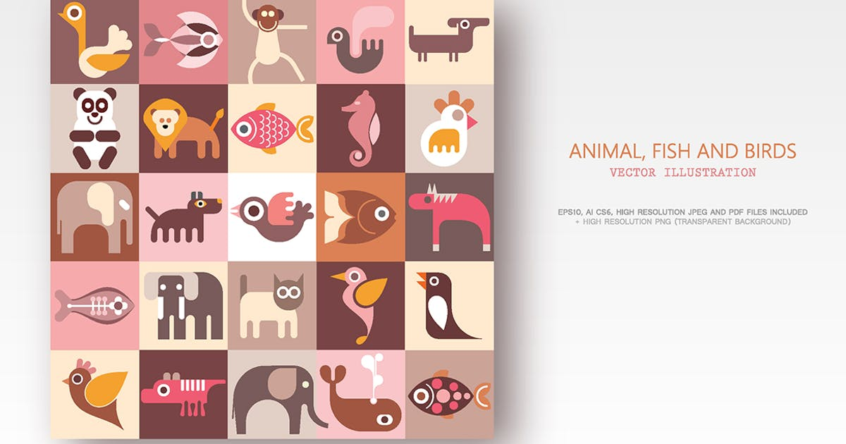 Download Animals, Fish and Birds set of vector icons by danjazzia
