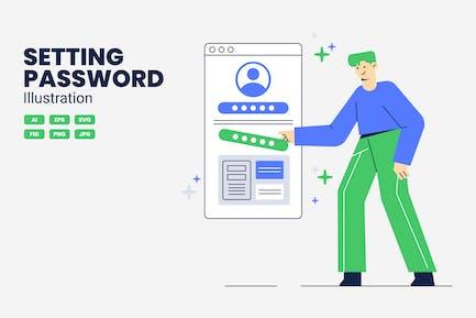 Setting Password Vector Illustration