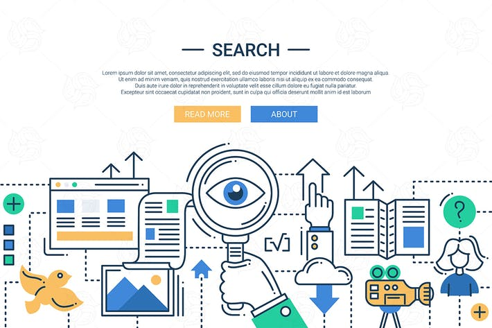Thumbnail for Illustration of modern search engine line image