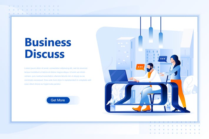 Thumbnail for Business Discuss Flat Landing Page Header
