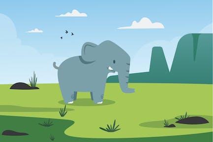 Mountain & Elephant Illustration