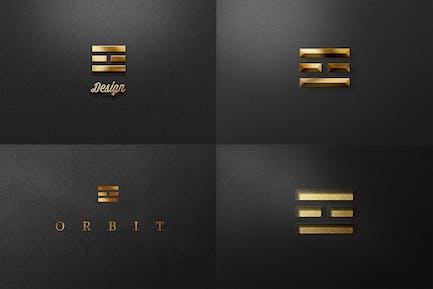 Élégant Logo Noir Or Mockup