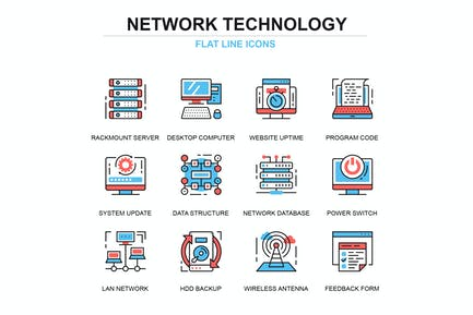Thin line network technology icons set